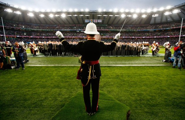 LONDON, ENGLAND - SEPTEMBER 18:  A military band plays during the opening ceremony ahead of the 2015 Rugby World Cup Pool A match between England and Fiji at Twickenham Stadium on September 18, 2015 in London, United Kingdom.  (Photo by Chris Lee - World Rugby/World Rugby via Getty Images)