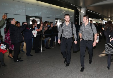 LONDON, ENGLAND - NOVEMBER 02: Richie McCaw, (R) captain of Rugby World Cup winners, the New Zealand All Blacks and Sam Cane arrive at Heathrow Airport at the start of their journey back to New Zealand on November 2, 2015 in London, United Kingdom. (Photo by David Rogers/Getty Images for England 2015)