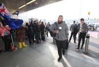 LONDON, ENGLAND - NOVEMBER 02: Charlie Faumuina, of Rugby World Cup winners, the New Zealand All Blacks arrives with team mates at Heathrow Airport at the start of their journey back to New Zealand on November 2, 2015 in London, United Kingdom. (Photo by David Rogers/Getty Images for England 2015)