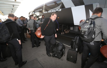 LONDON, ENGLAND - NOVEMBER 02: Steve Hansen, the head coach of Rugby World Cup winners, the New Zealand All Blacks, arrives with team mates at Heathrow Airport at the start of their journey back to New Zealand on November 2, 2015 in London, United Kingdom. (Photo by David Rogers/Getty Images for England 2015)